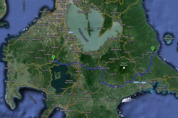 Southern Luzon - we started in Tagaytay, look at all the towns we passed through.